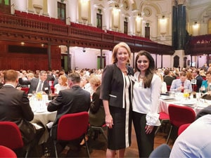 Ms. Farhan with Ms. Elizabeth Broderick at the Annual meeting of Male Champion of Change, Australia, 2018